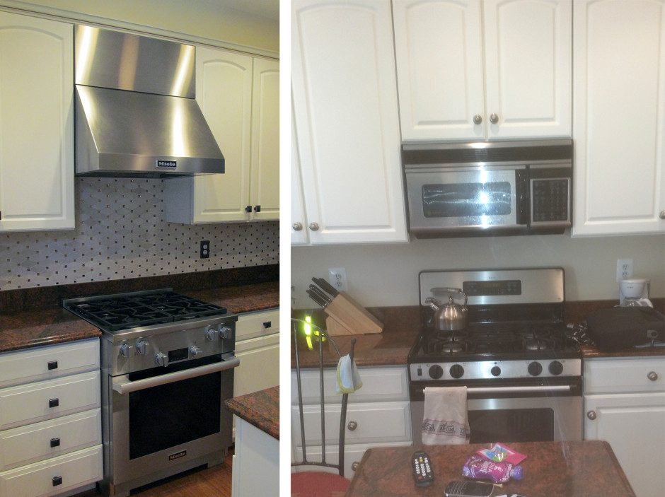 Range and hood installation